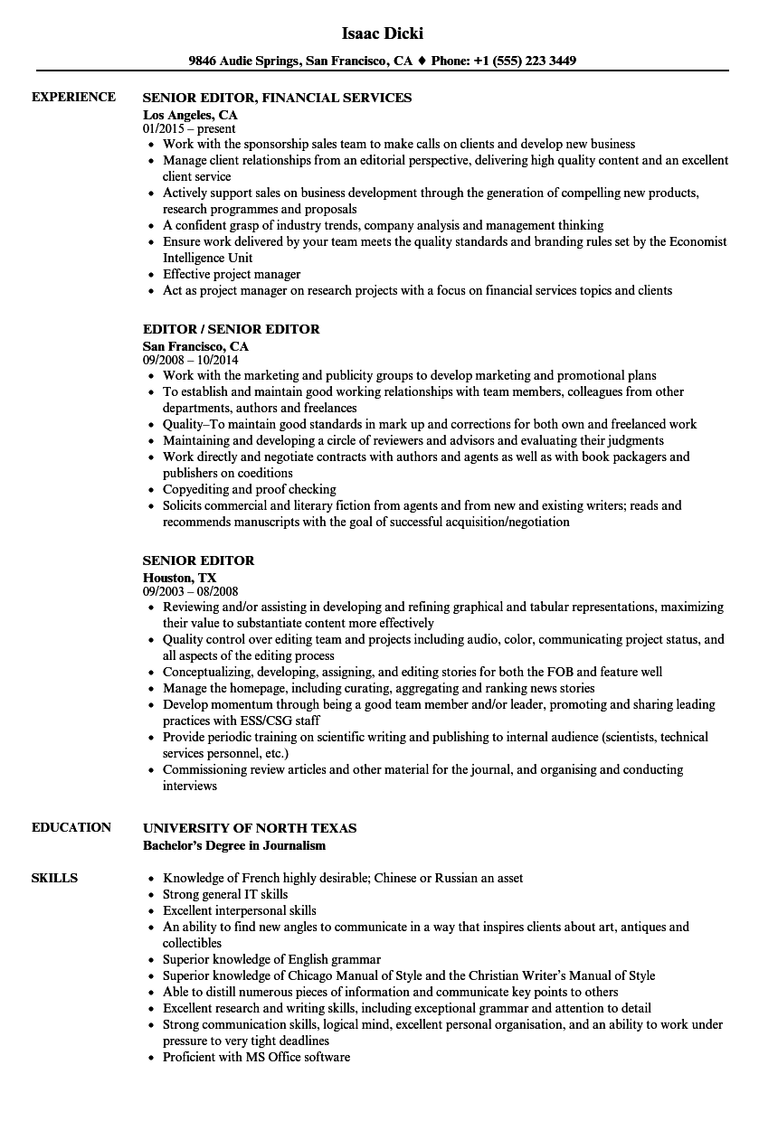 senior editor resume samples