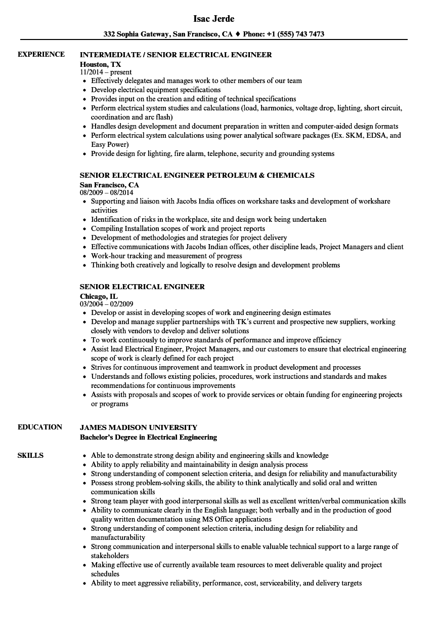 Senior Electrical Engineer Resume Samples | Velvet Jobs