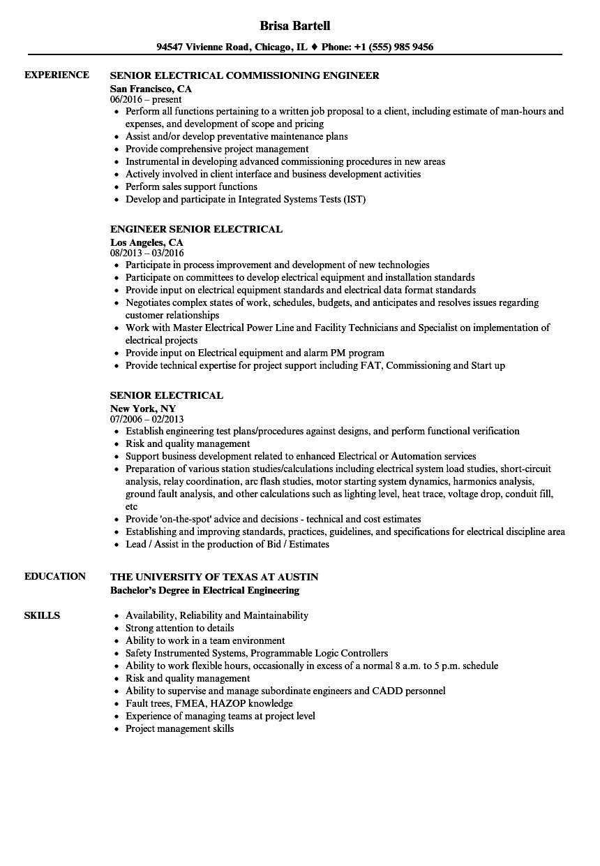 Senior Electrical Resume Samples Velvet Jobs
