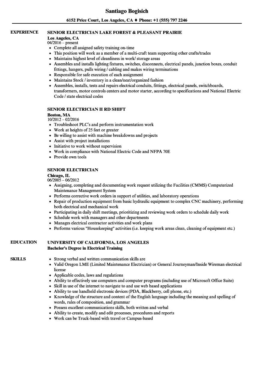 Senior Electrician Resume Samples | Velvet Jobs