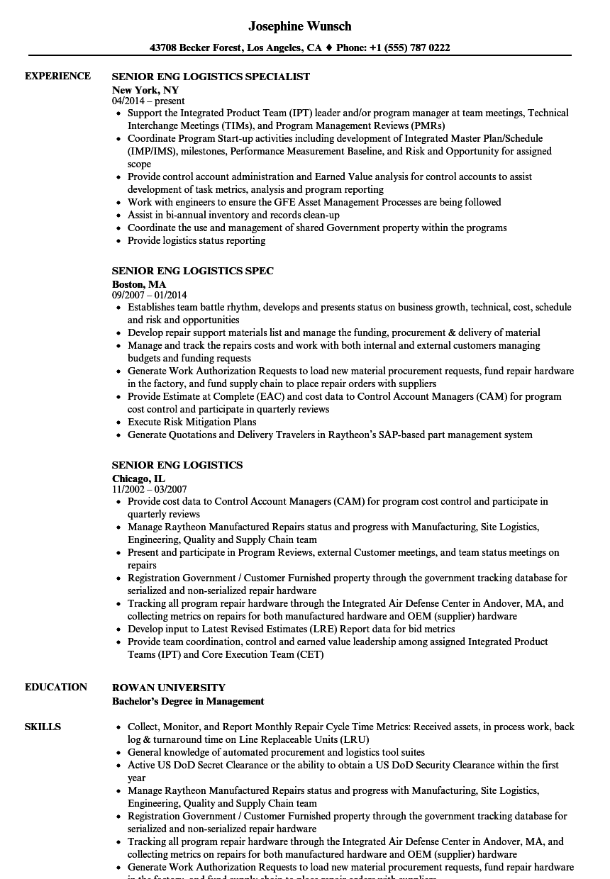 senior eng logistics resume samples