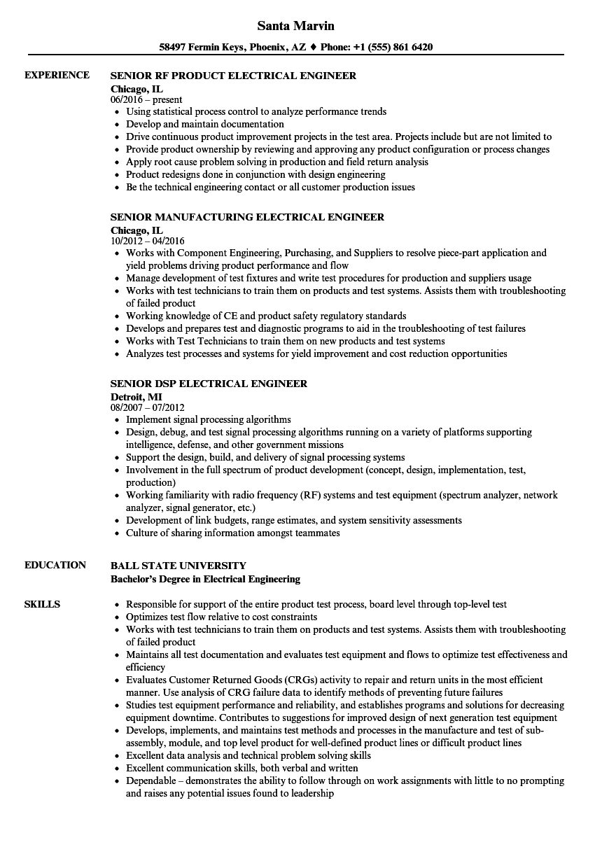 Senior Engineer Electrical Engineer Resume Samples