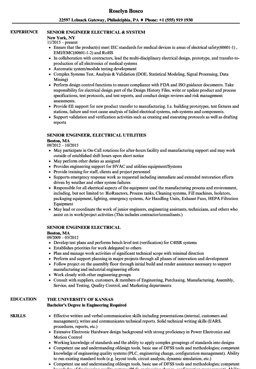 Senior Engineer Electrical Resume