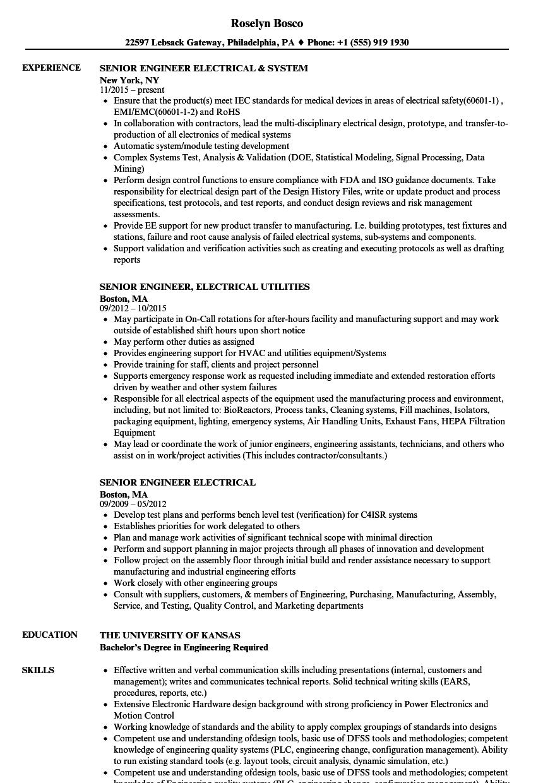 Senior Engineer Electrical Resume Samples Velvet Jobs