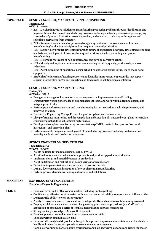 senior engineer  manufacturing resume samples