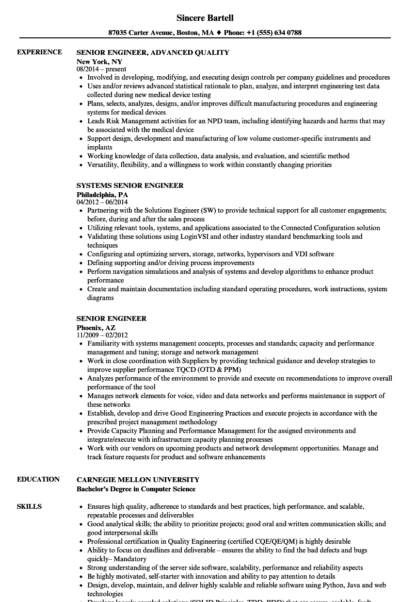 senior engineer resume samples