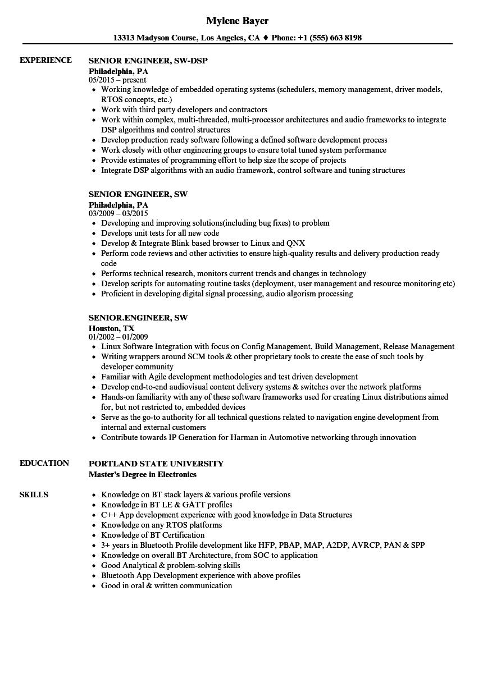 senior engineer  sw resume samples