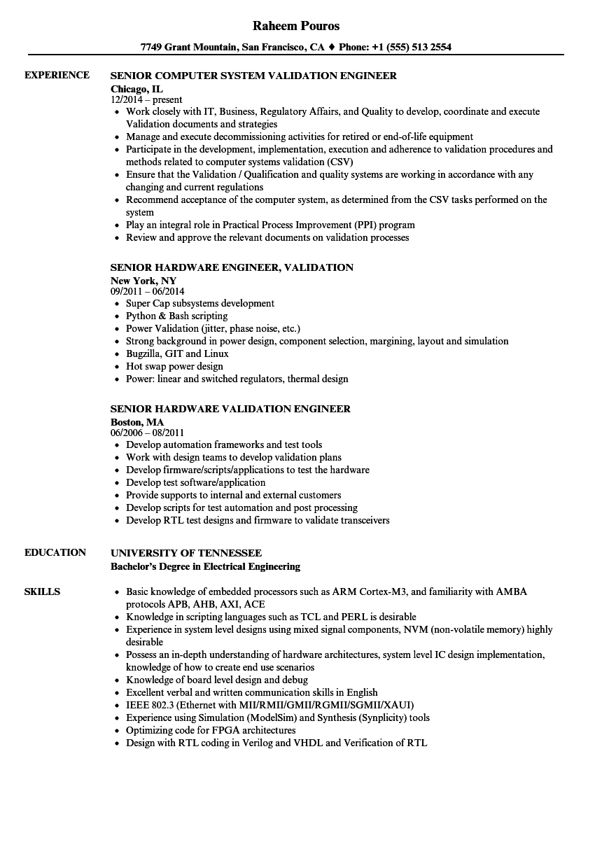 Senior Engineer, Validation Resume Samples | Velvet Jobs