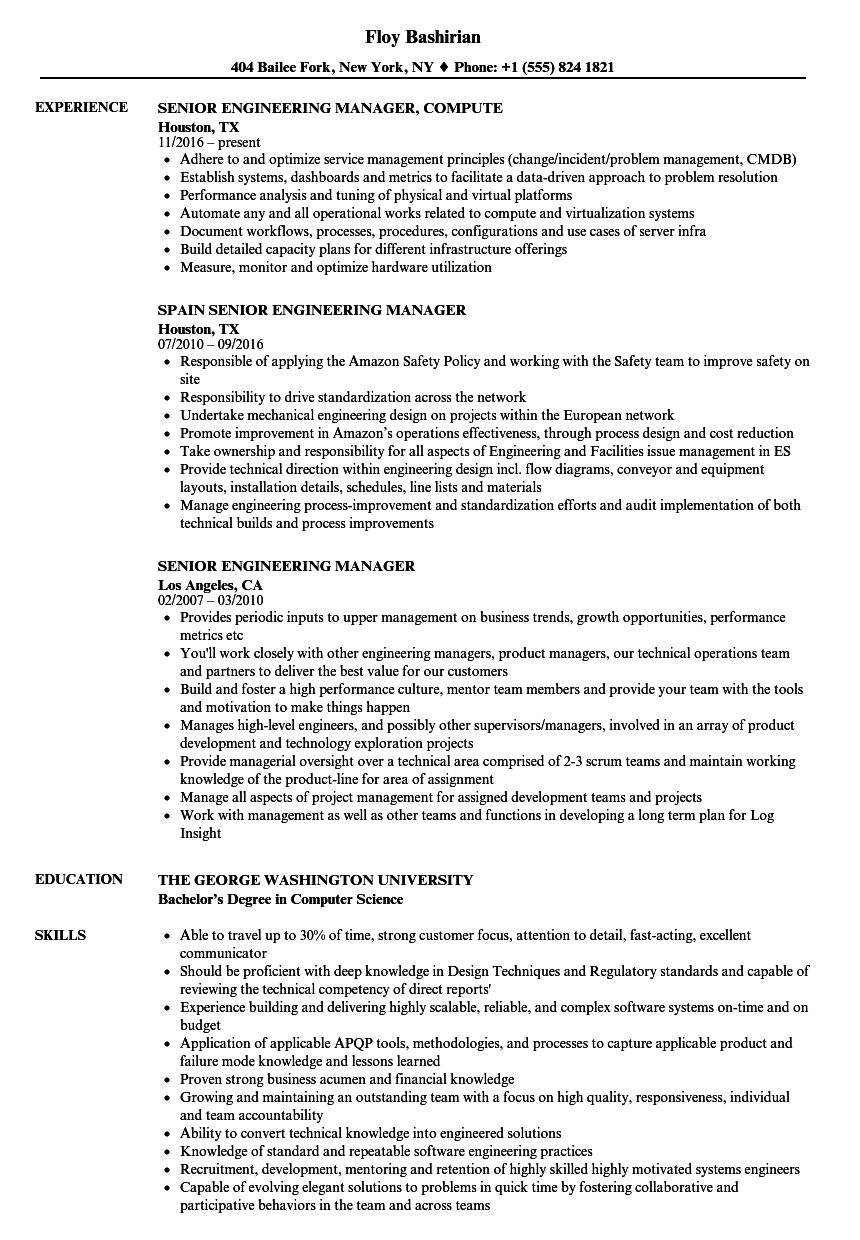 Senior Engineering Manager Resume Samples | Velvet Jobs
