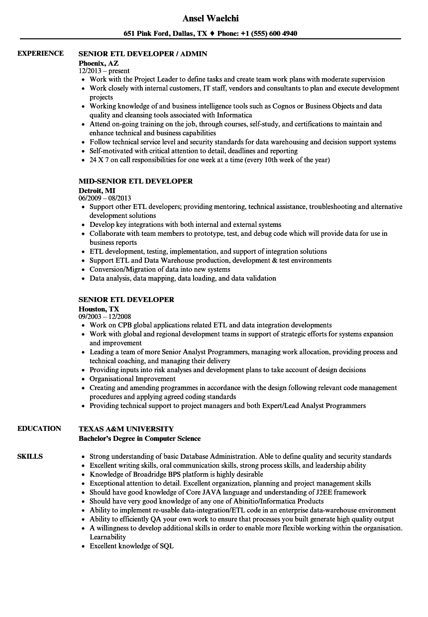 senior etl developer resume samples