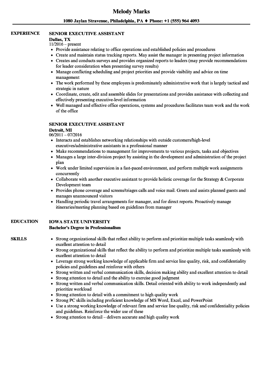 Senior Executive Assistant Resume Samples | Velvet Jobs