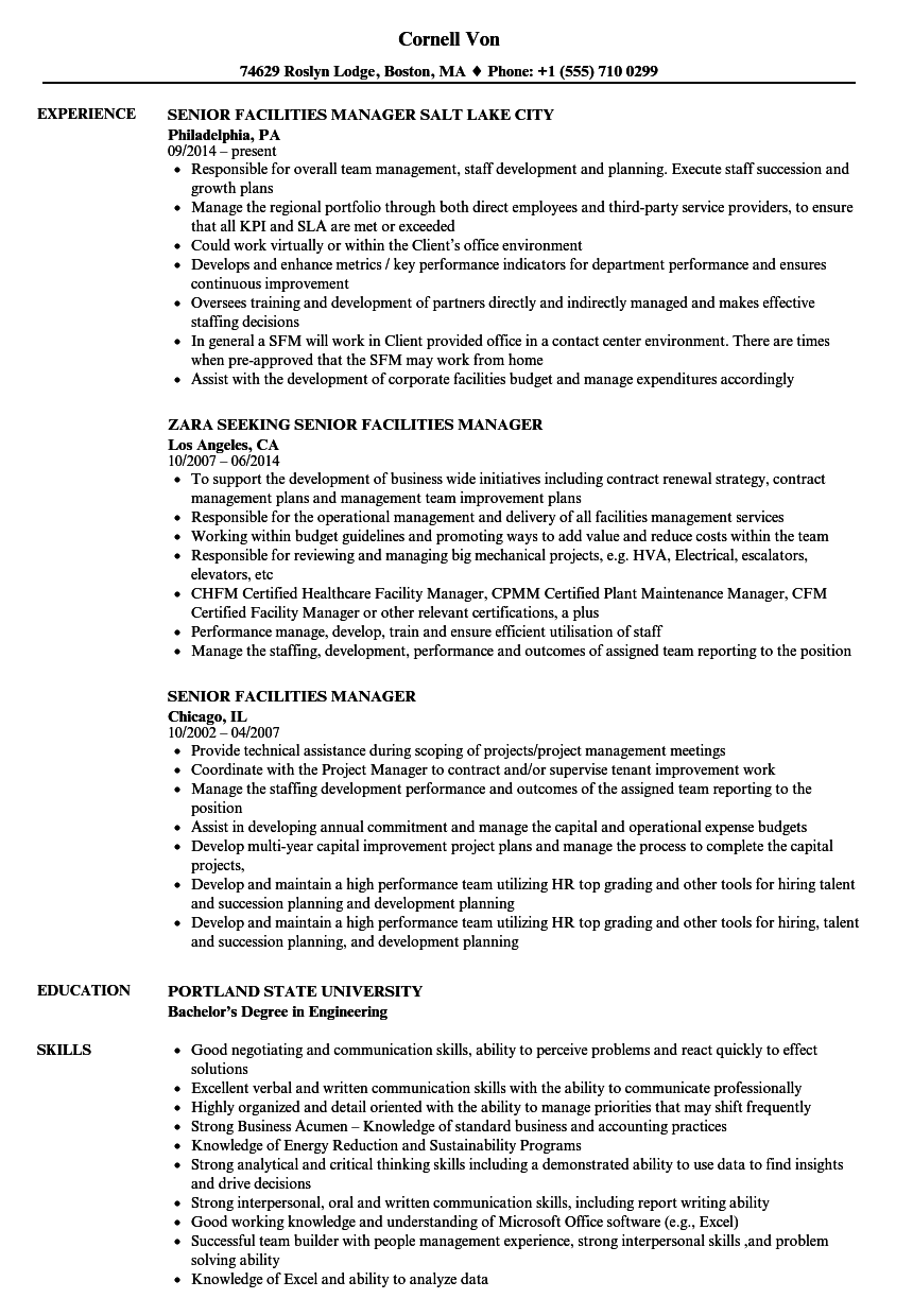 Senior Facilities Manager Resume Samples Velvet Jobs
