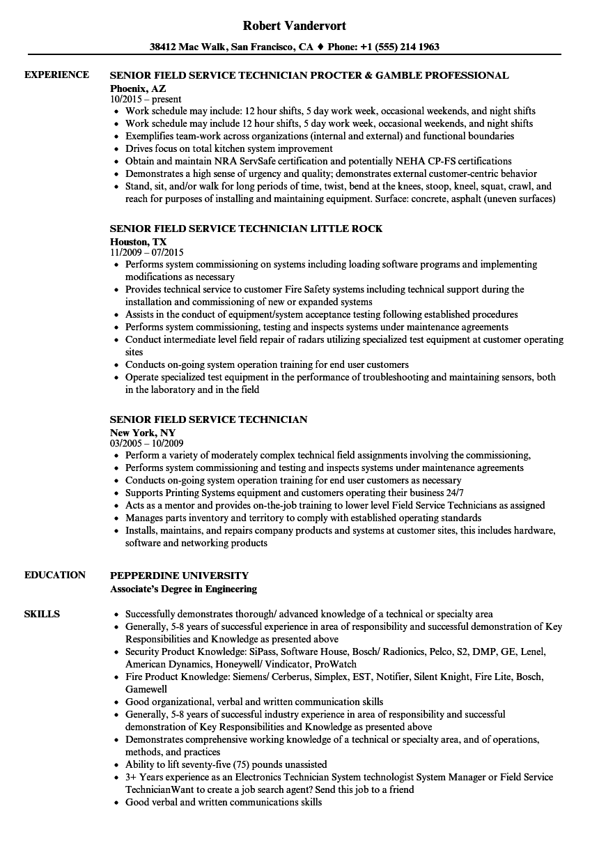 Senior Field Service Technician Resume Samples | Velvet Jobs