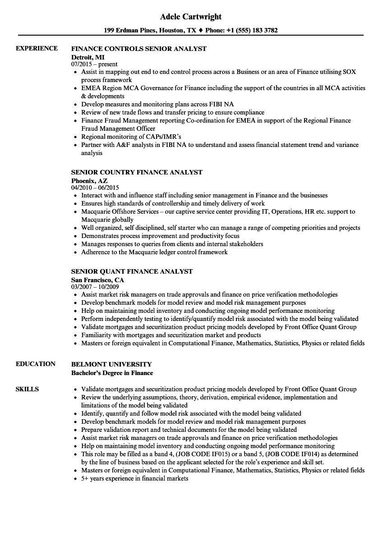 senior finance analyst  finance resume samples