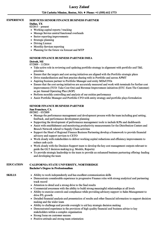 senior finance business partner resume samples