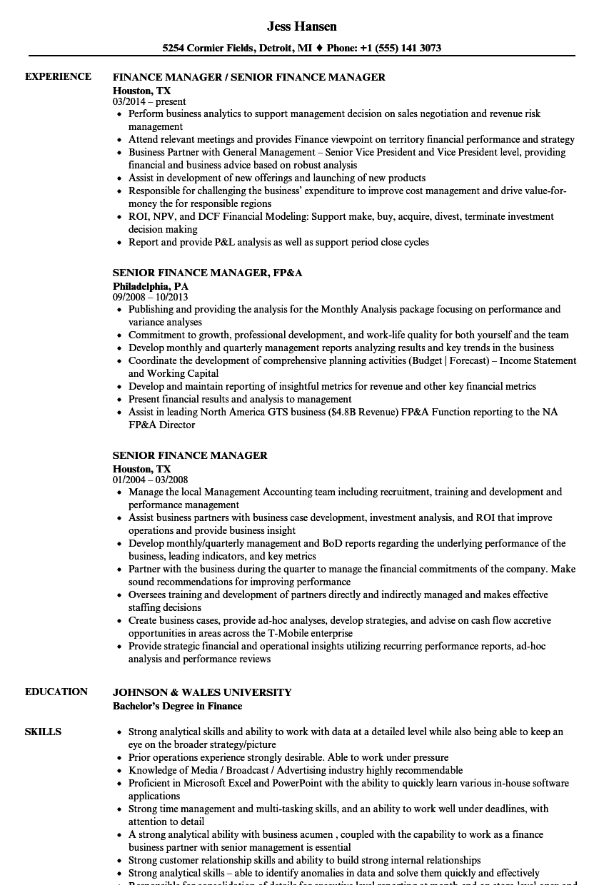 Senior Finance Manager Resume Samples