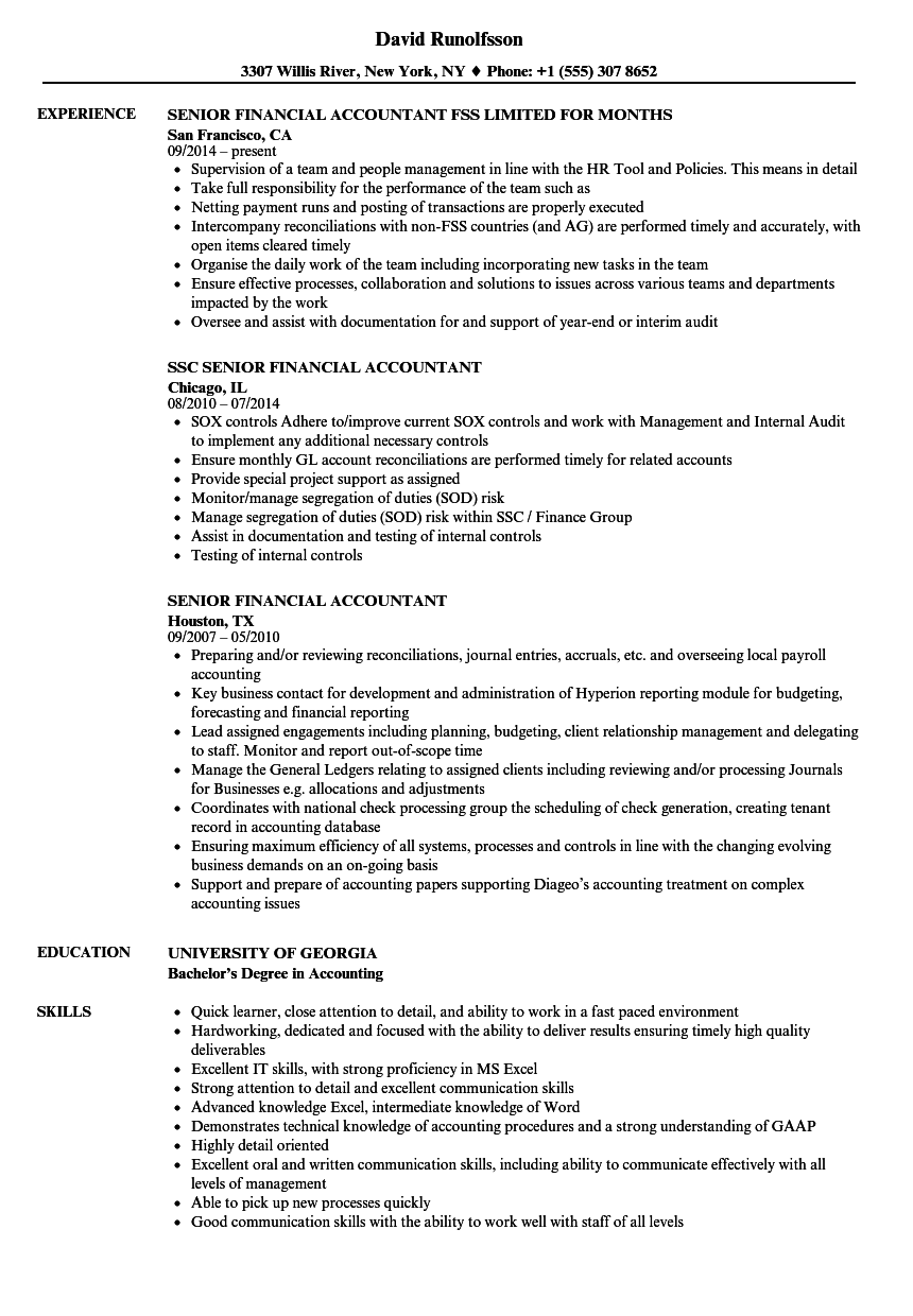 Senior Financial Accountant Resume Samples | Velvet Jobs