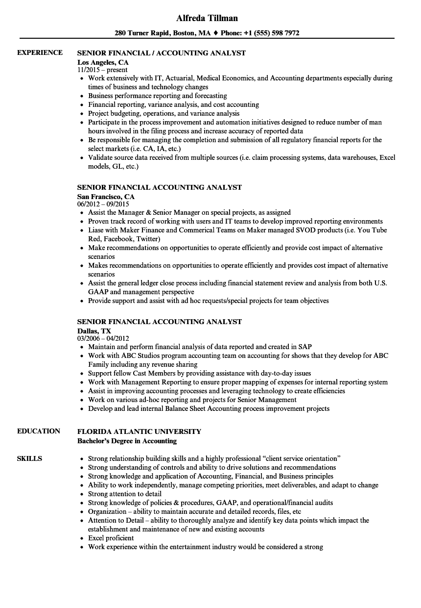 download senior financial accounting analyst resume sample as image file - Senior Financial Analyst Resume