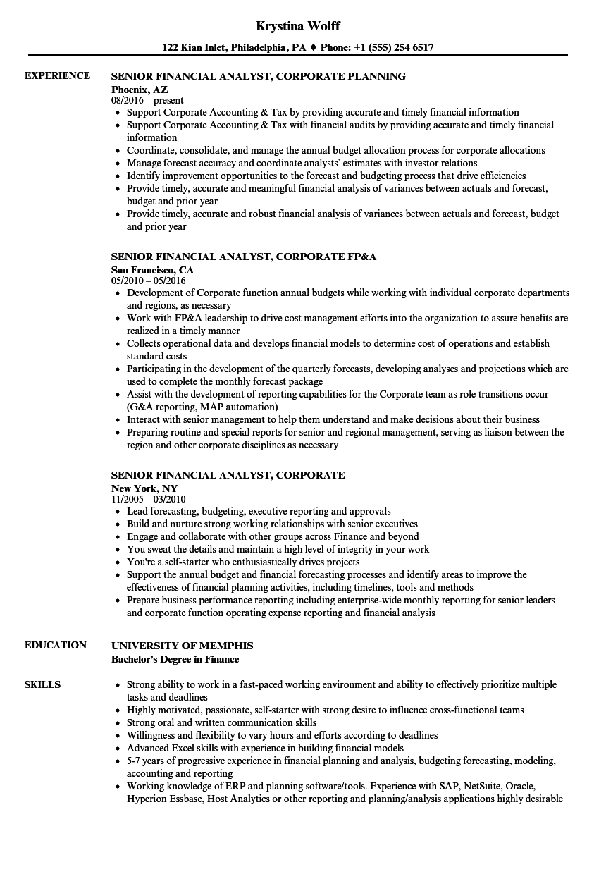 Senior Financial Analyst, Corporate Resume Samples | Velvet Jobs
