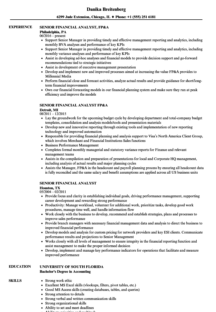 Senior Financial Analyst Resume Samples | Velvet Jobs