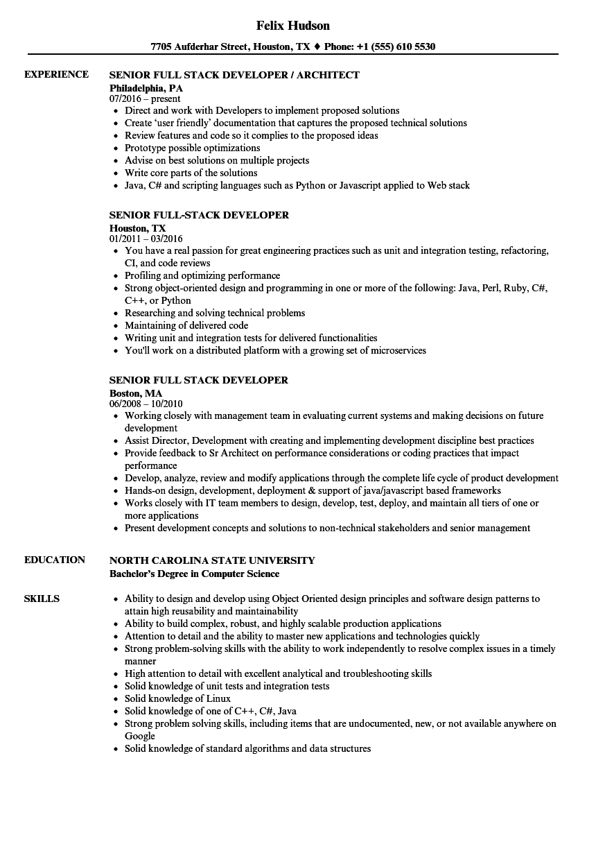 Senior Full Stack Developer Resume Samples | Velvet Jobs