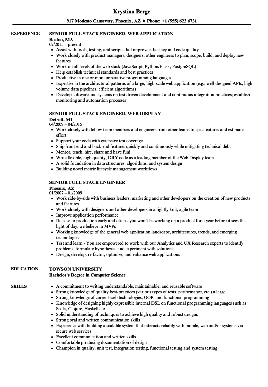roles and responsibilities of full stack developer resume
