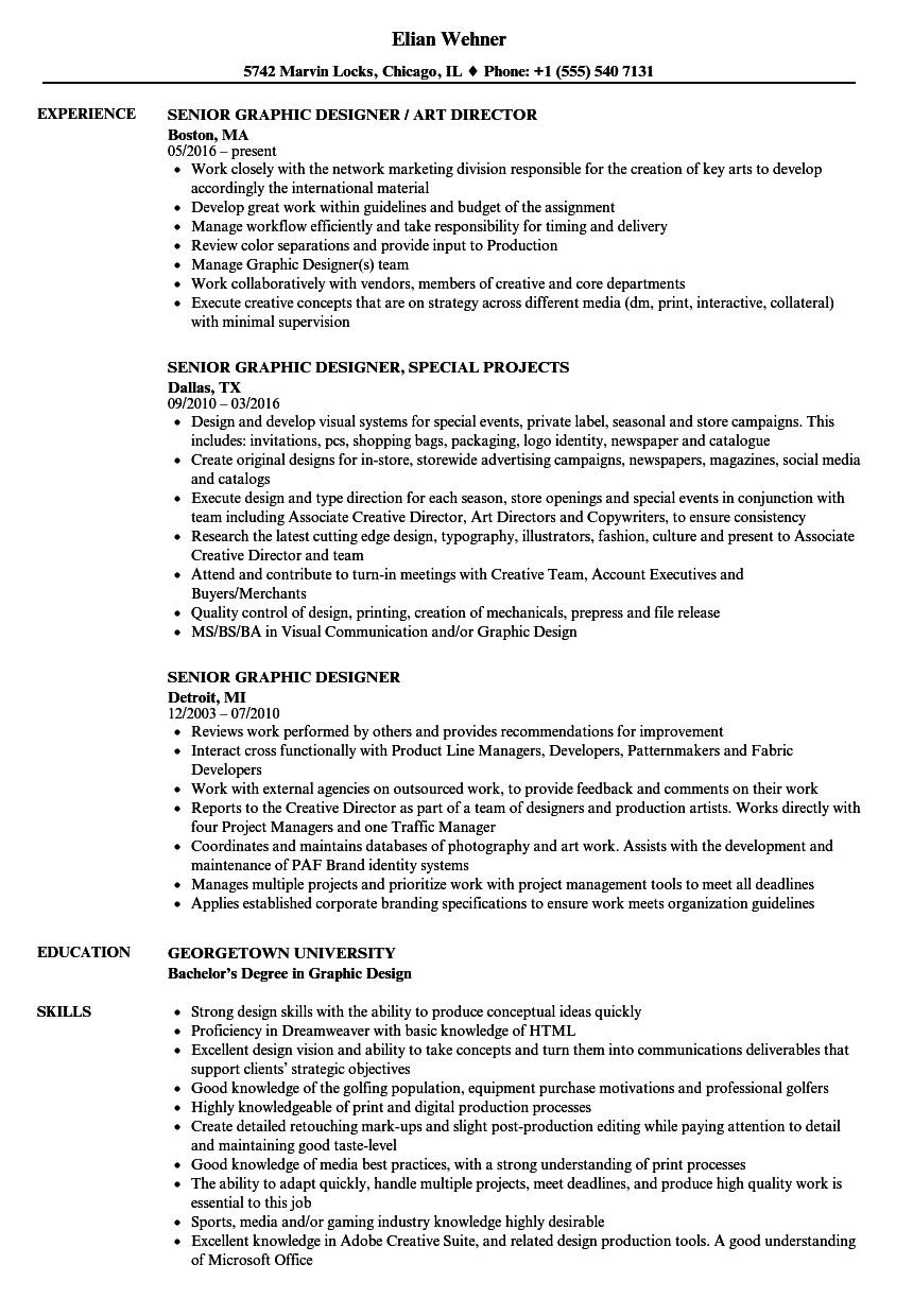 senior graphic designer resume - Freelance Graphic Designer Resume