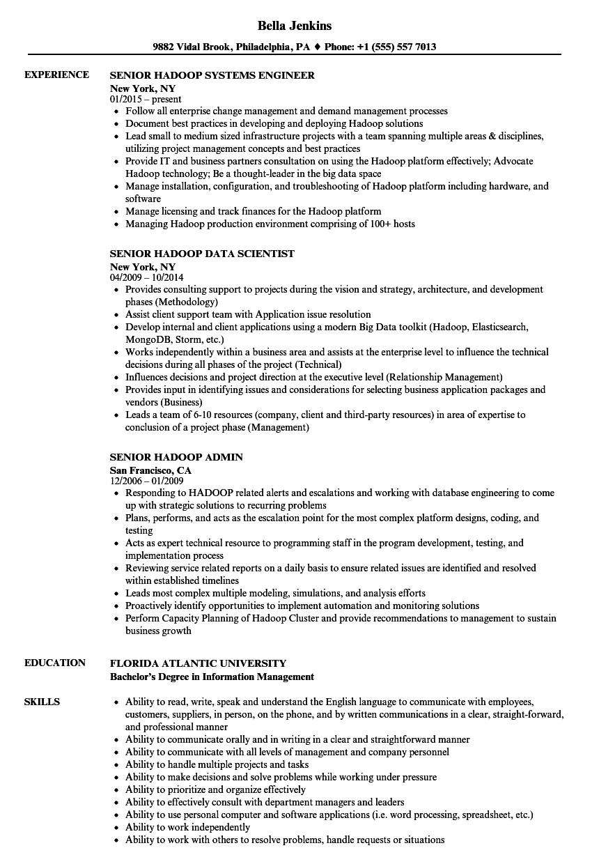 senior hadoop resume samples
