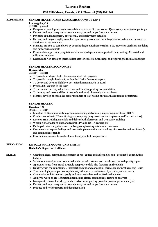 senior health resume samples