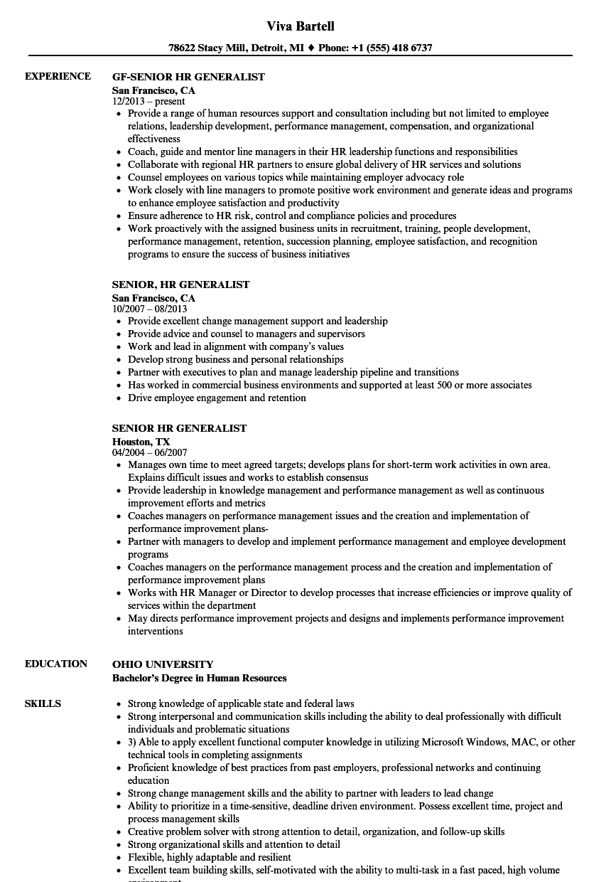Sample Resume Of Hr Generalist | Senior Hr Generalist Resume Samples Velvet Jobs