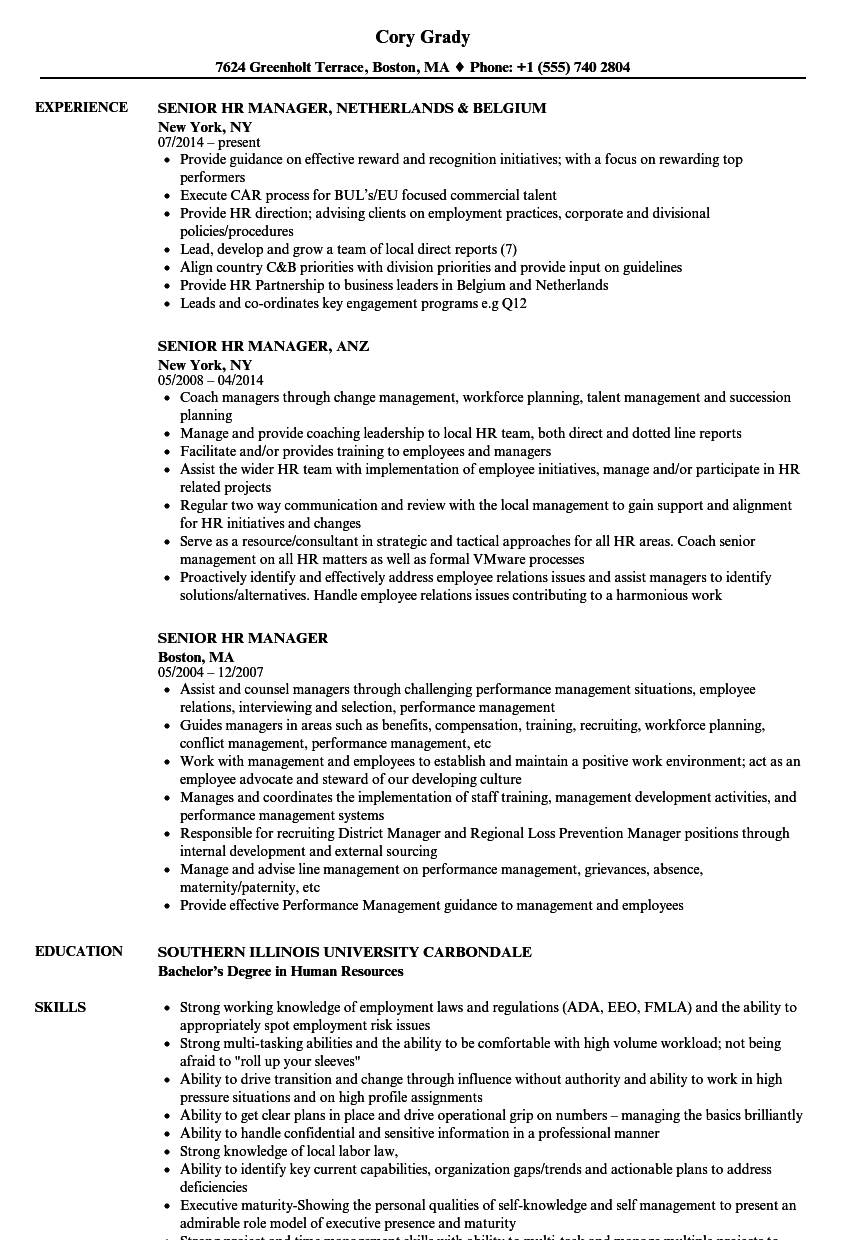 senior hr manager resume samples