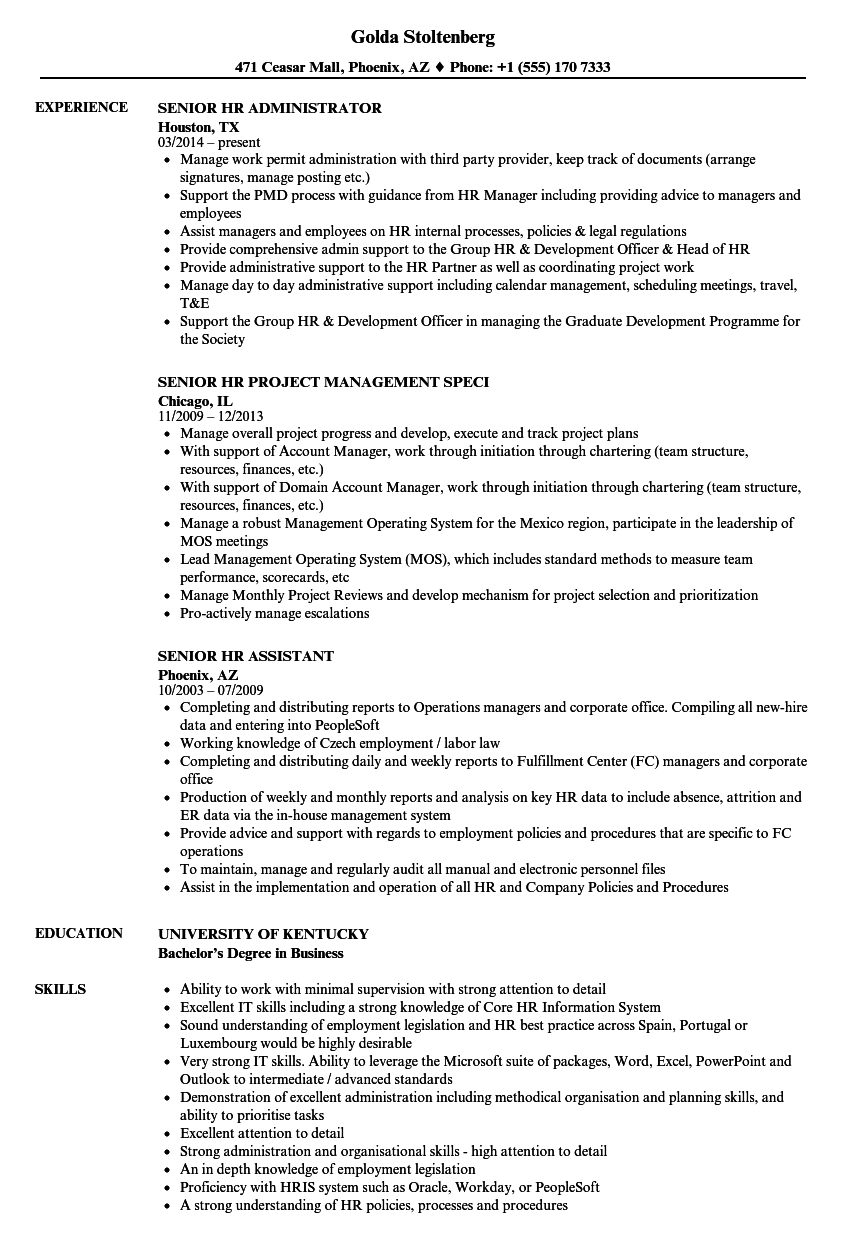 Senior Hr Resume Samples Velvet Jobs