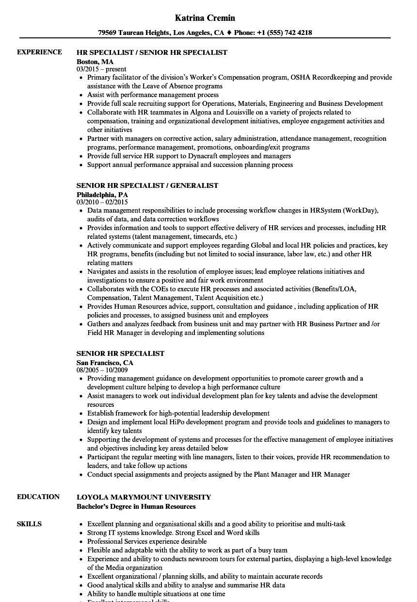 Senior HR Specialist Resume Samples | Velvet Jobs