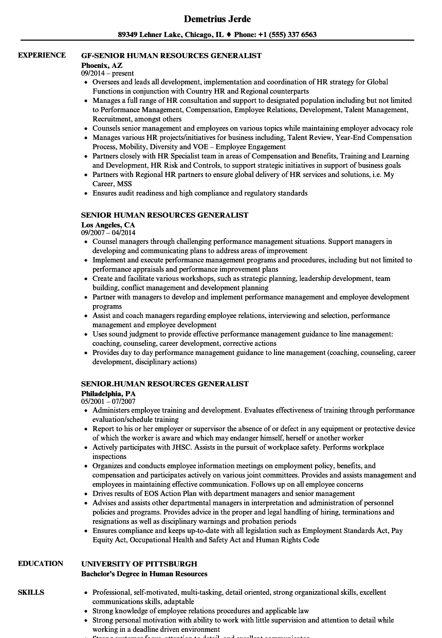 Senior Human Resources Generalist Resume Samples Velvet Jobs