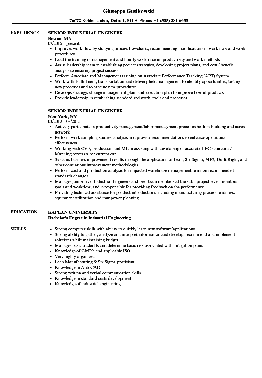 senior industrial engineer resume samples velvet jobs
