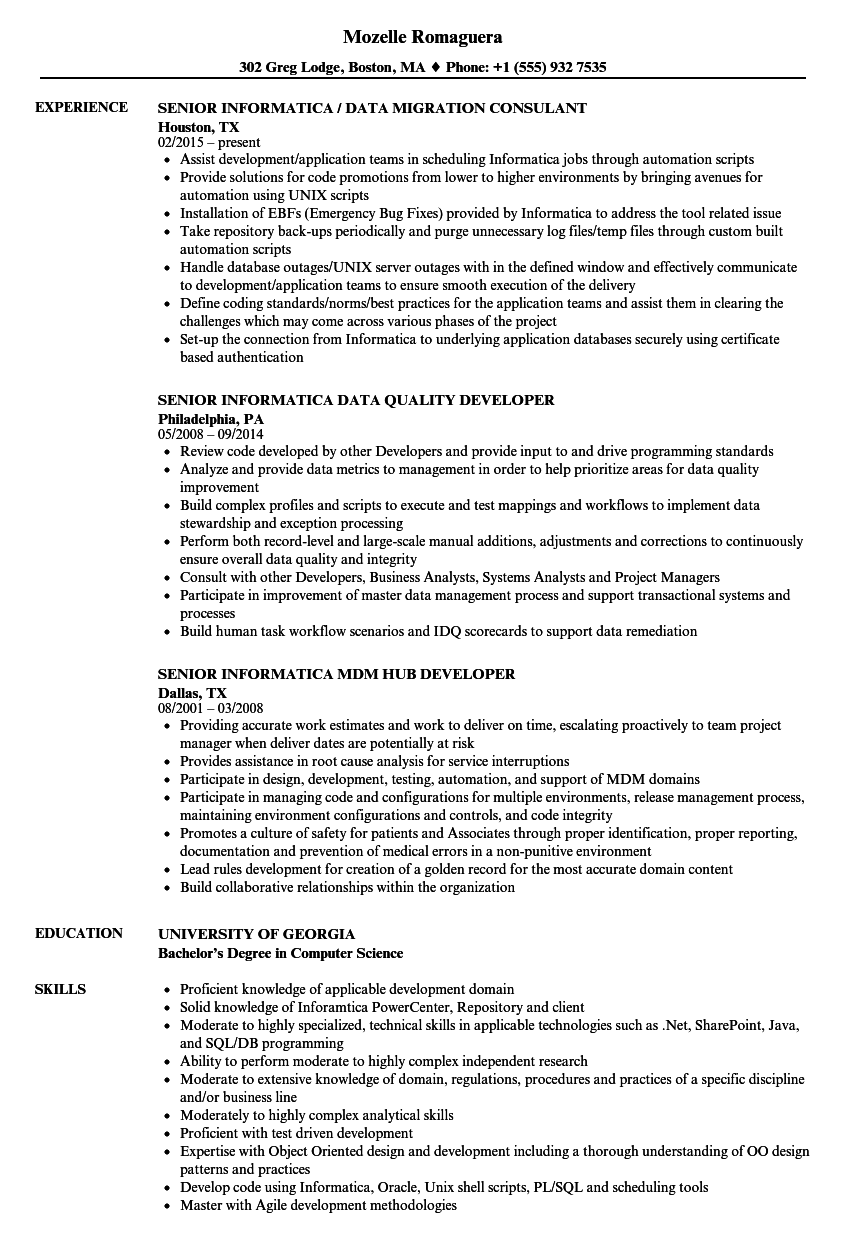 senior informatica resume samples