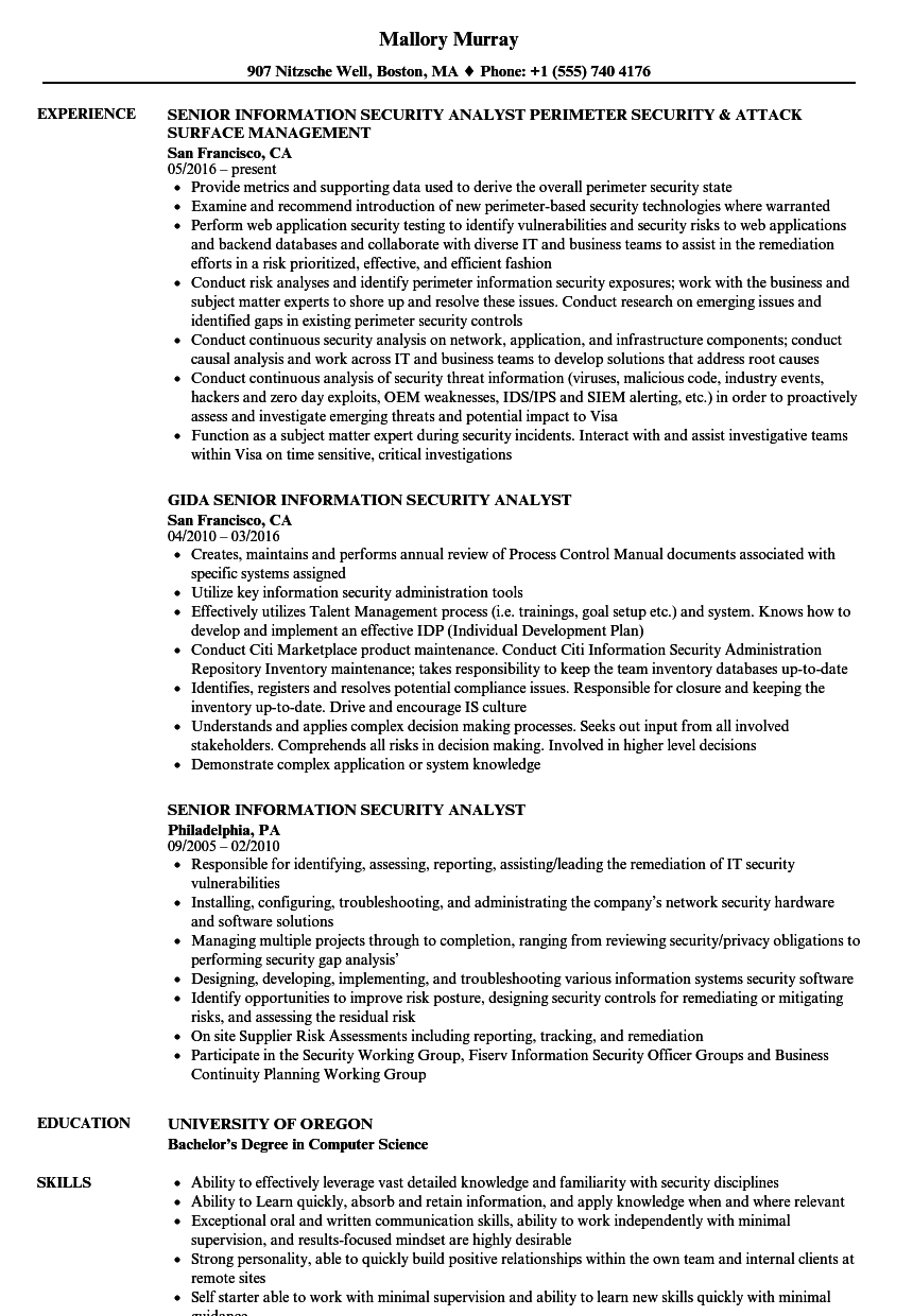 download senior information security analyst resume sample as image file - Information Security Analyst Resume