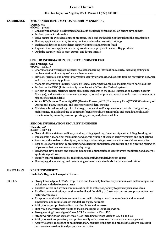 senior information security engineer resume samples