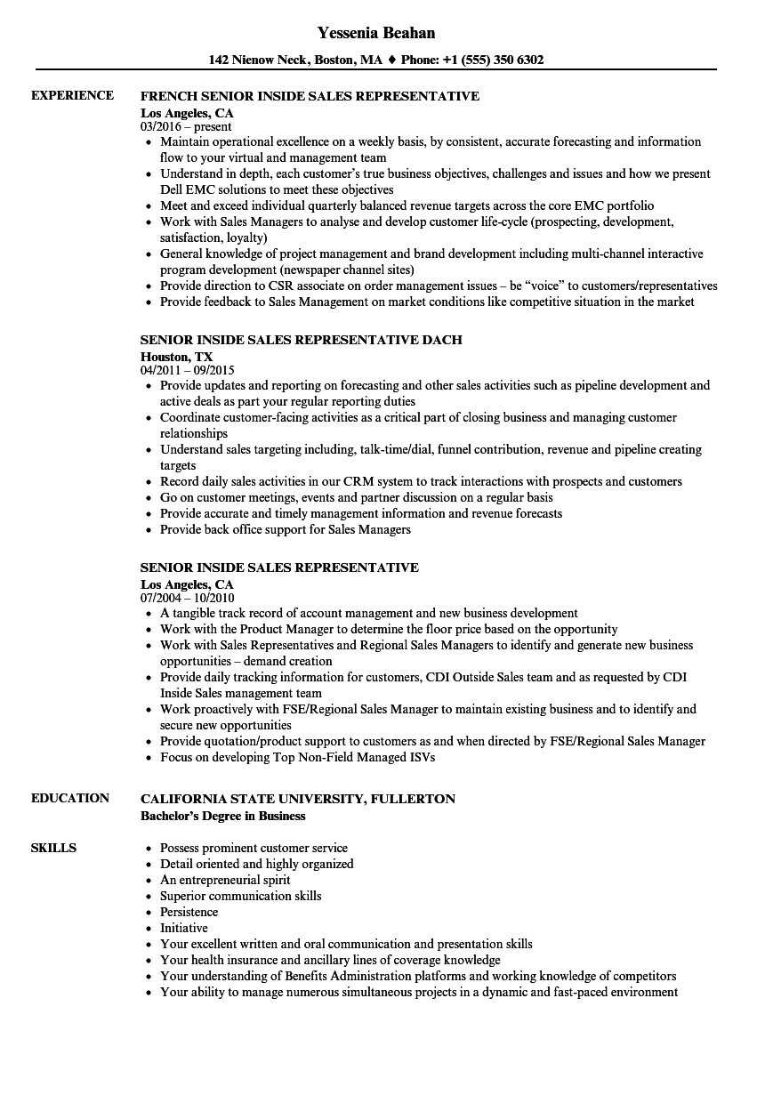 senior inside sales representative resume samples