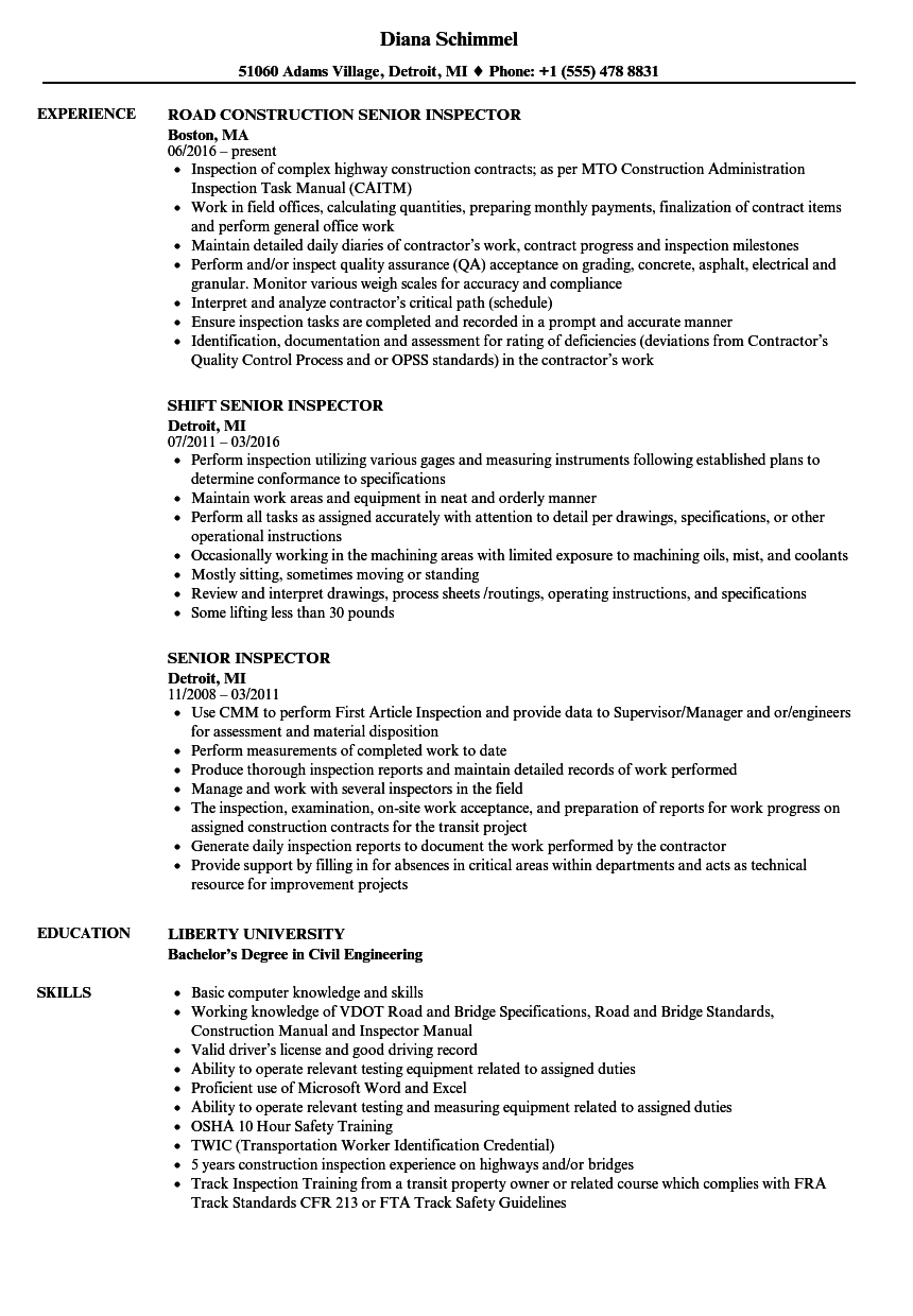 senior inspector resume samples