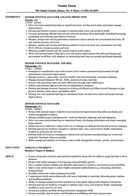 senior instock manager resume samples velvet jobs