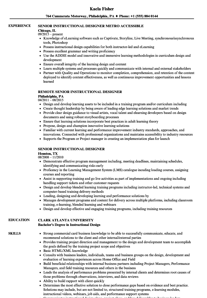 Senior Instructional Designer Resume Samples | Velvet Jobs
