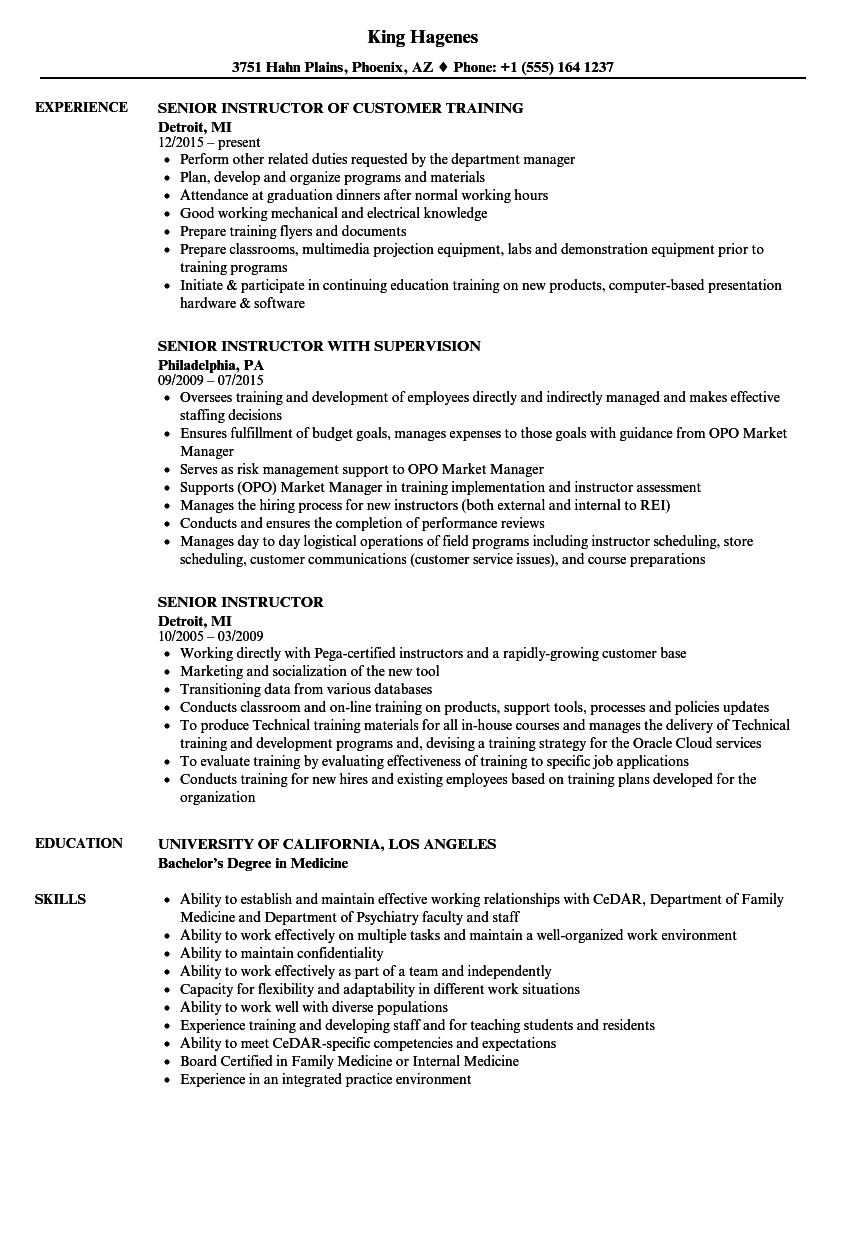 senior instructor resume samples
