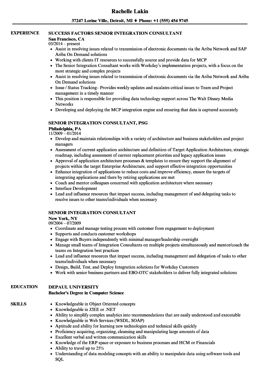 senior integration consultant resume samples