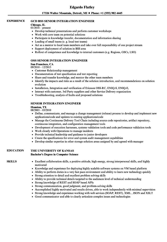 Senior Integration Engineer Resume Samples Velvet Jobs