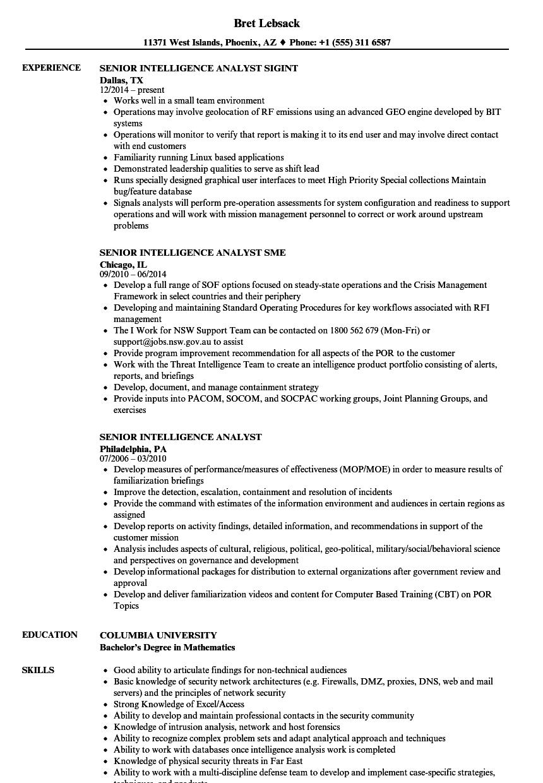 Download Senior Intelligence Analyst Resume Sample as Image file