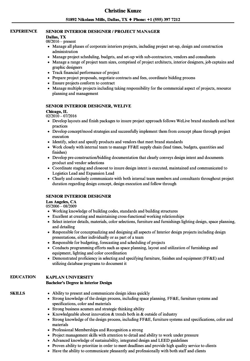 senior interior designer resume samples velvet jobs