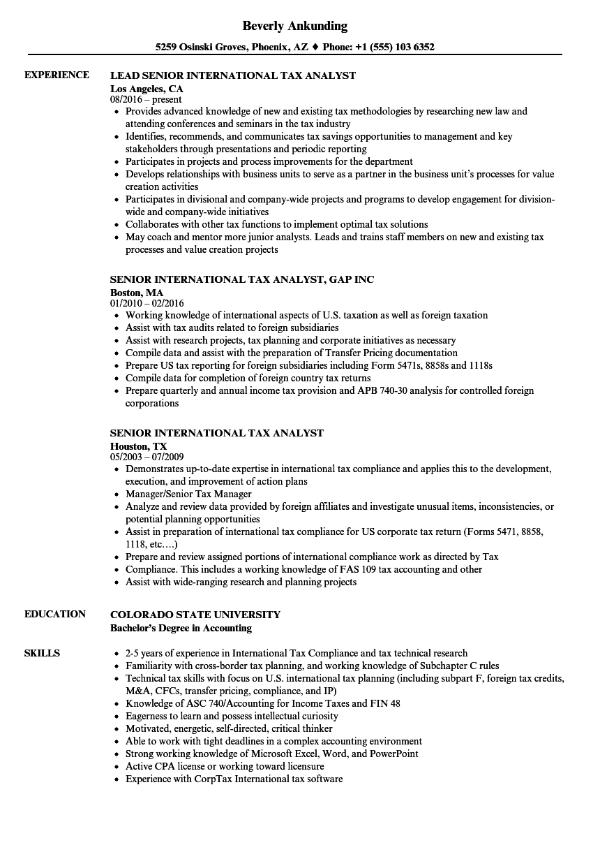 senior international tax analyst resume samples