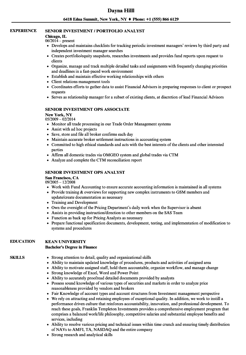 senior investment resume samples