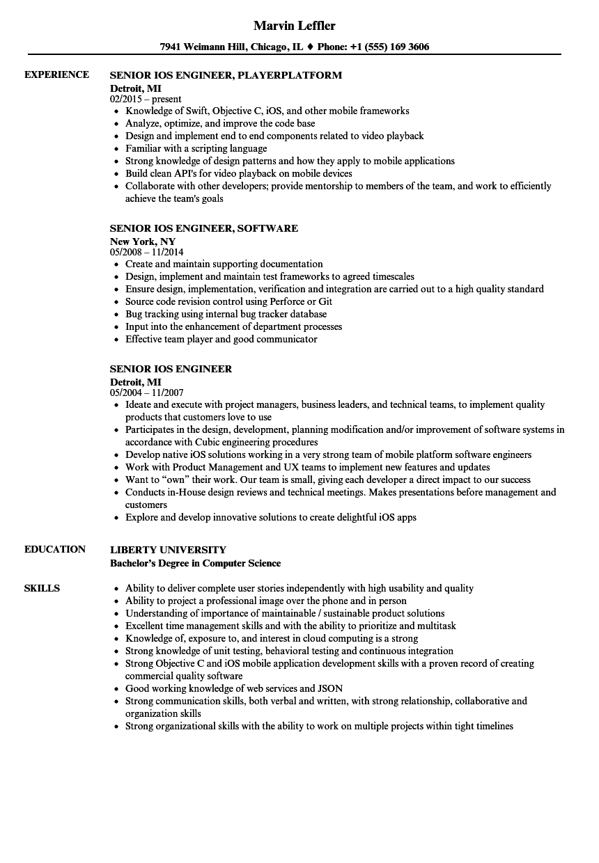 Senior iOS Engineer Resume Samples | Velvet Jobs
